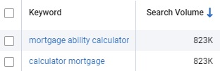 Search Results Mortgage Calculator v Mortvage Ability Calculator