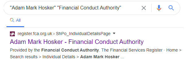 Adam Hosker Financial COnduct Authority