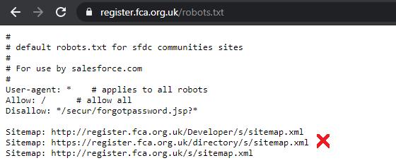 Bad FCA Sitemap